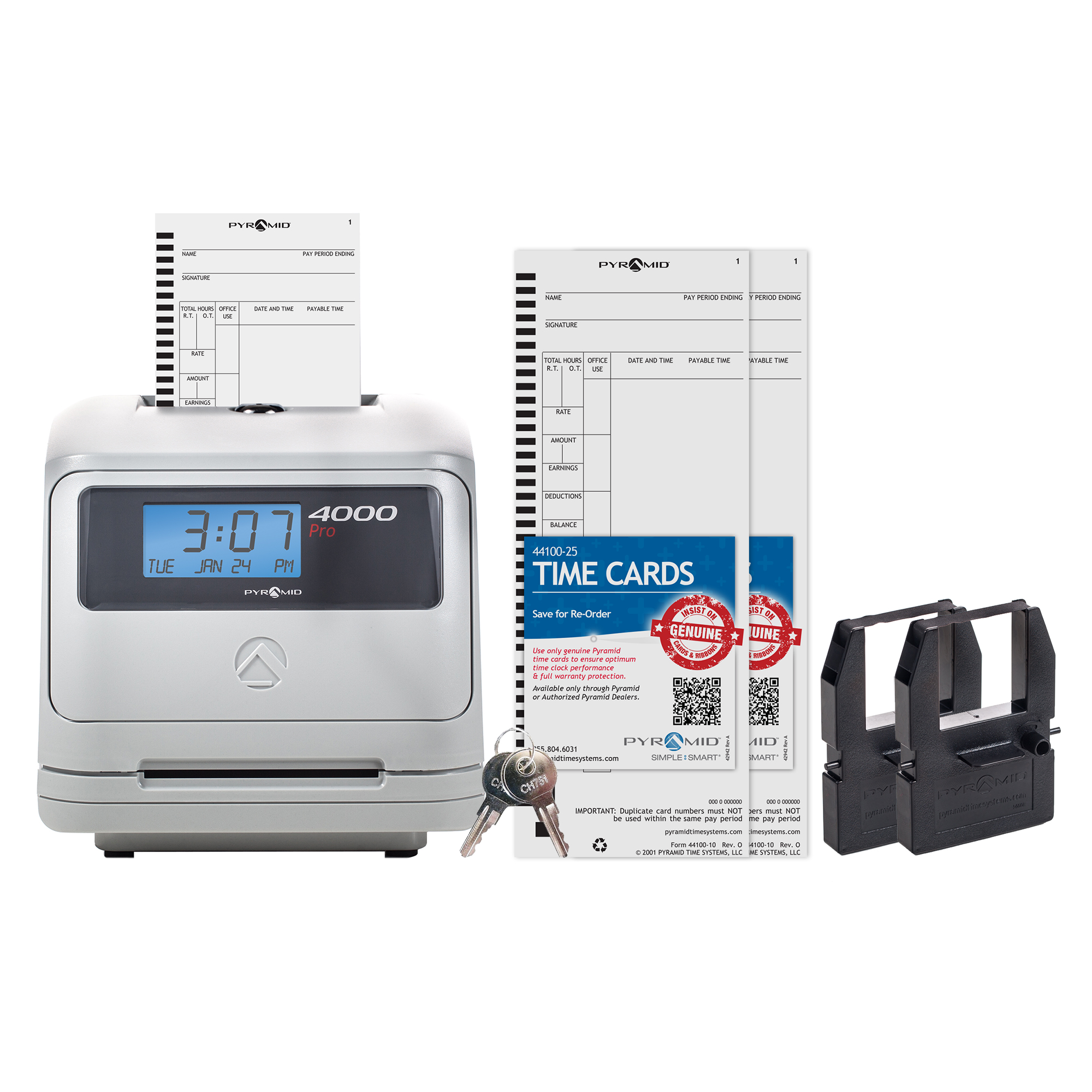 Pyramid 4000 Auto Totaling Time Clock Bundle, includes 225 time cards, 2 ribbon cartridges