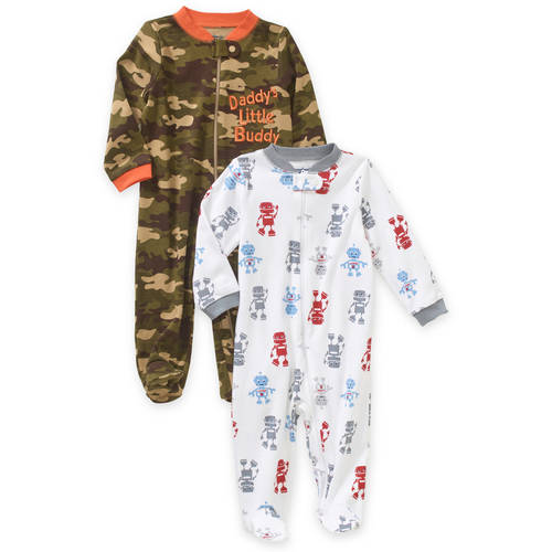 Garanimals Newborn Baby Boy Cotton Sleep n' Plays, 2-Pack