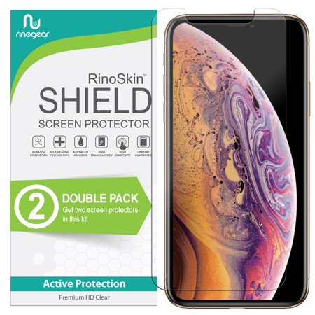 iPhone XS Max Screen Protector [2-PACK] [Case Friendly] RinoGear Flexible HD Invisible Clear Shield Anti-Bubble Unlimited Replacement Film