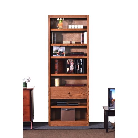 Concepts in Wood 7 Shelf Bookcase, 84 inch Tall with Fix Shelf/Drawer - Dry Oak