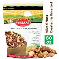 Sunbest Natural Mixed Nuts 5 Lbs / 80 oz Roasted & Unsalted (Cashews, Almonds, Brazil Nuts, Pecans)