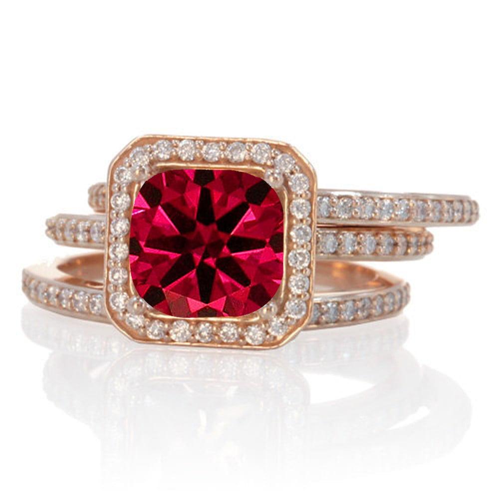 250 Carat Perfect Princess cut Ruby and Diamond Trio Halo Wedding