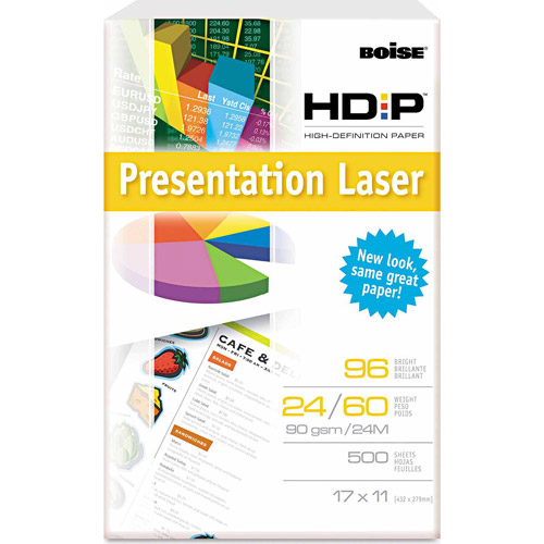 "Boise HD:P Presentation Laser Paper, 96 Brightness, 11"" x 17"", White, 500 Sheets"