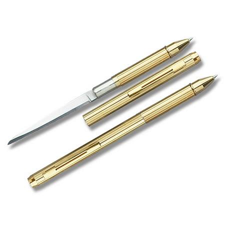 - Gold Pen Knife Stainless Steel Hidden Blade Ball Point Letter Opener Mini