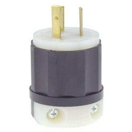 Leviton 4770-C 15 Amp, 277 Volt, NEMA L7-15P, 2P, 3W, Locking Plug, Industrial Grade, Grounding - (Black 2p Plug)