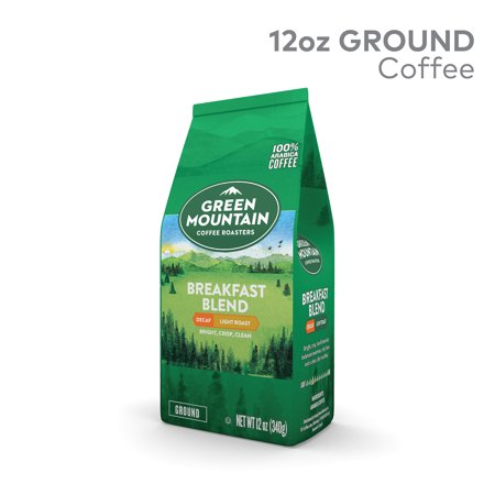 Green Mountain Coffee Breakfast Blend Decaf, Ground Coffee, Light Roast, Bagged 12oz (Decaf Green Coffee Beans)