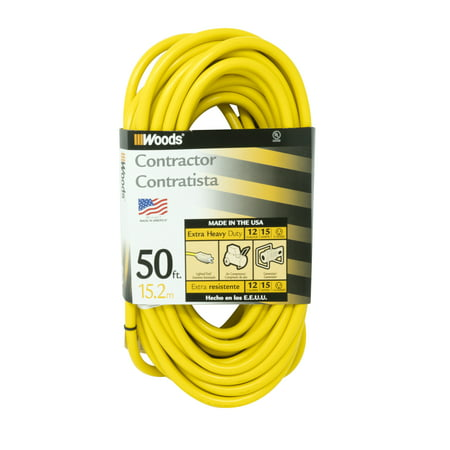 Woods 982554 50-Feet 12/3 SJTW High Visibility Extension Cord with ...