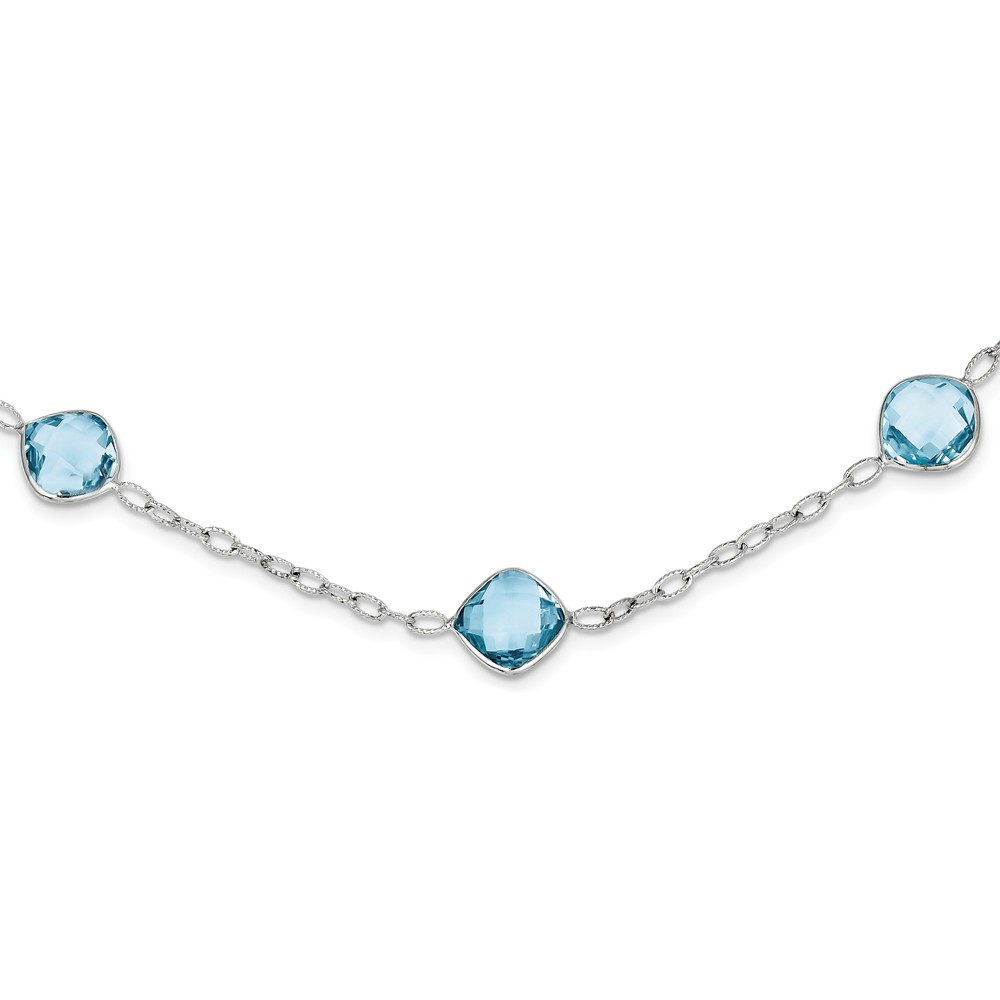 Sterling Silver 18in. Blue Topaz Necklace 25.00 cwt by Jewelryweb