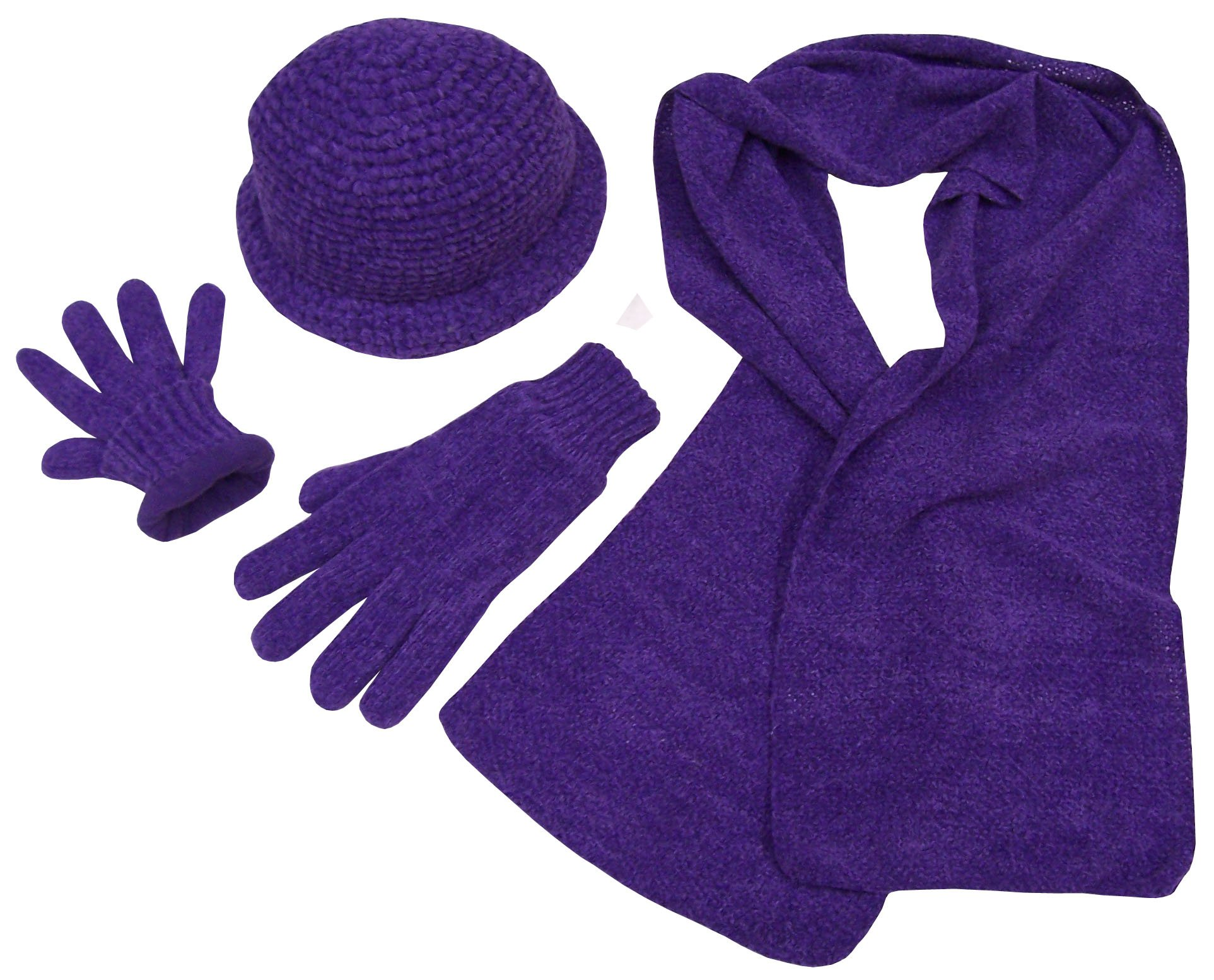 NICE CAPS Womens Crocheted Chenille Hat Gloves Scarf Winter Set Fleece Lined
