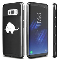 For Samsung Galaxy Shockproof Impact Hard Soft Case Cover Baby Elephant (Black For Samsung Galaxy S8+ (Plus))