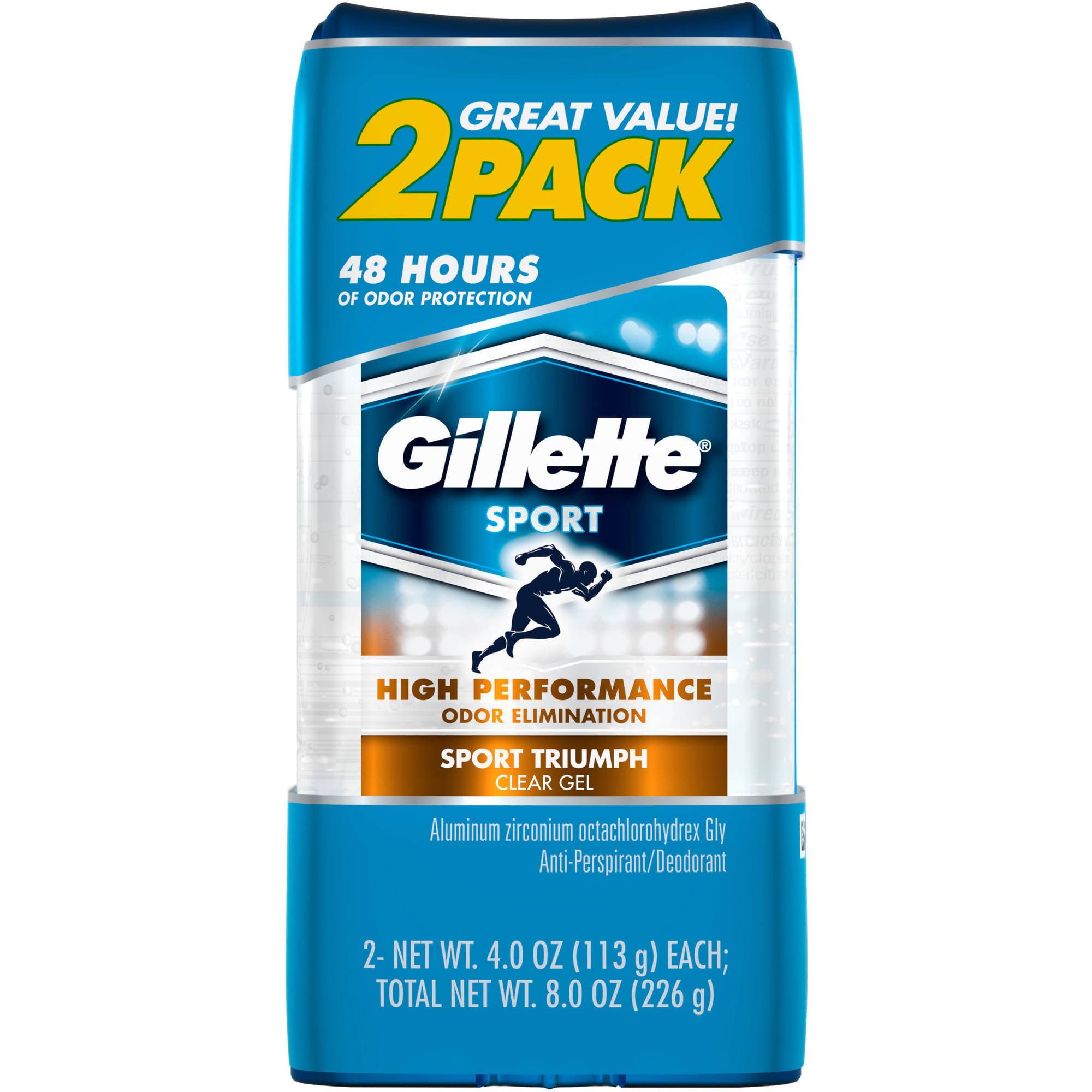 Gillette Clear & Refreshing Sport Gel Anti-Perspirant/Deodorant, 4 oz, 2 count