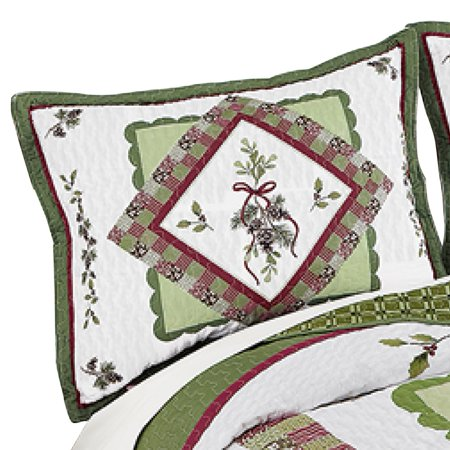Woodland-inspired Pinecone Patchwork Quilted Pillow Sham, Multi