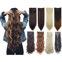 "NK Beauty 24"" Curly Wave Clips in Synthetic Hair Extensions Hair pieces for Women double double weft 7 piece full head"
