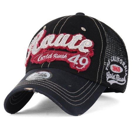 Route 66 Hot Rod - ililily America Route 49 Gold Rush Casual Cotton Mesh Trucker Hat Baseball Cap, Black