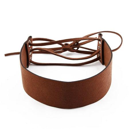 Lady Wide Plain Design Adjustable Velvet Neck Necklace Chain Collar Choker Brown