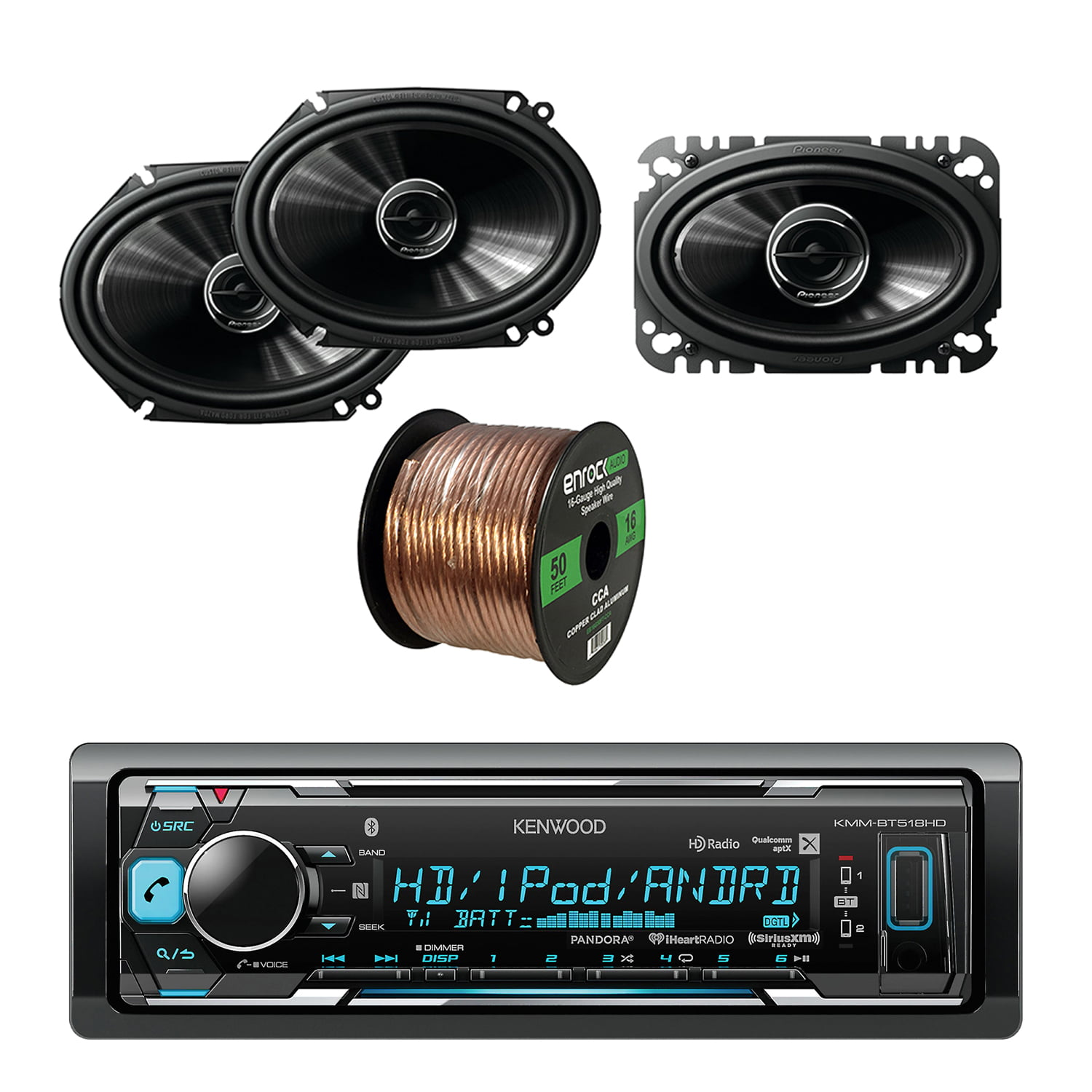 Kenwood In-Dash Stereo Receiver, Bluetooth With Pioneer