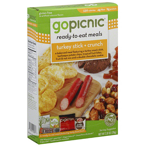 GoPicnic Turkey Stick & Crunch Ready-to-Eat Meal, 2.8 oz, (Pack of 6)