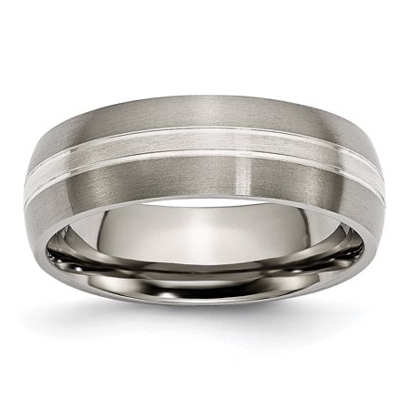 Titanium Grooved 7mm 925 Sterling Silver Inlay Brushed/ Wedding Ring Band Size 11.00 Precious Metal Fine Jewelry For Women Gift Set Ladies Brushed Metal