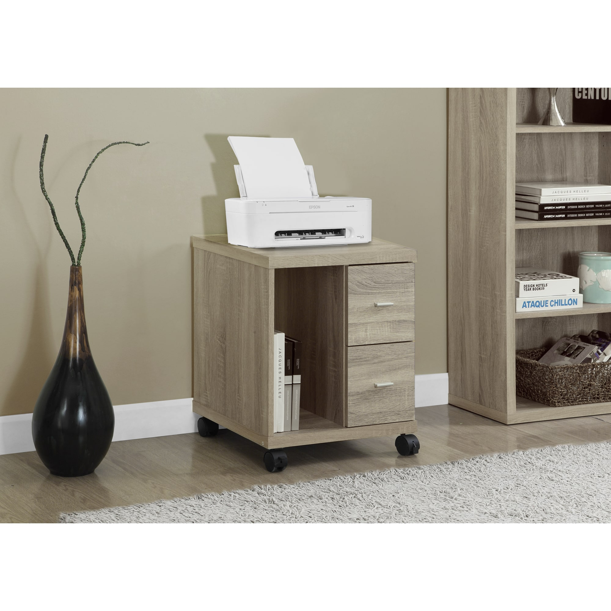 MONARCH SPECIALTIES Natural Reclaimed-look 2-drawer Casto...