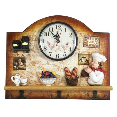 Heartful home italian chef wall decor clock with key for Italian kitchen gifts