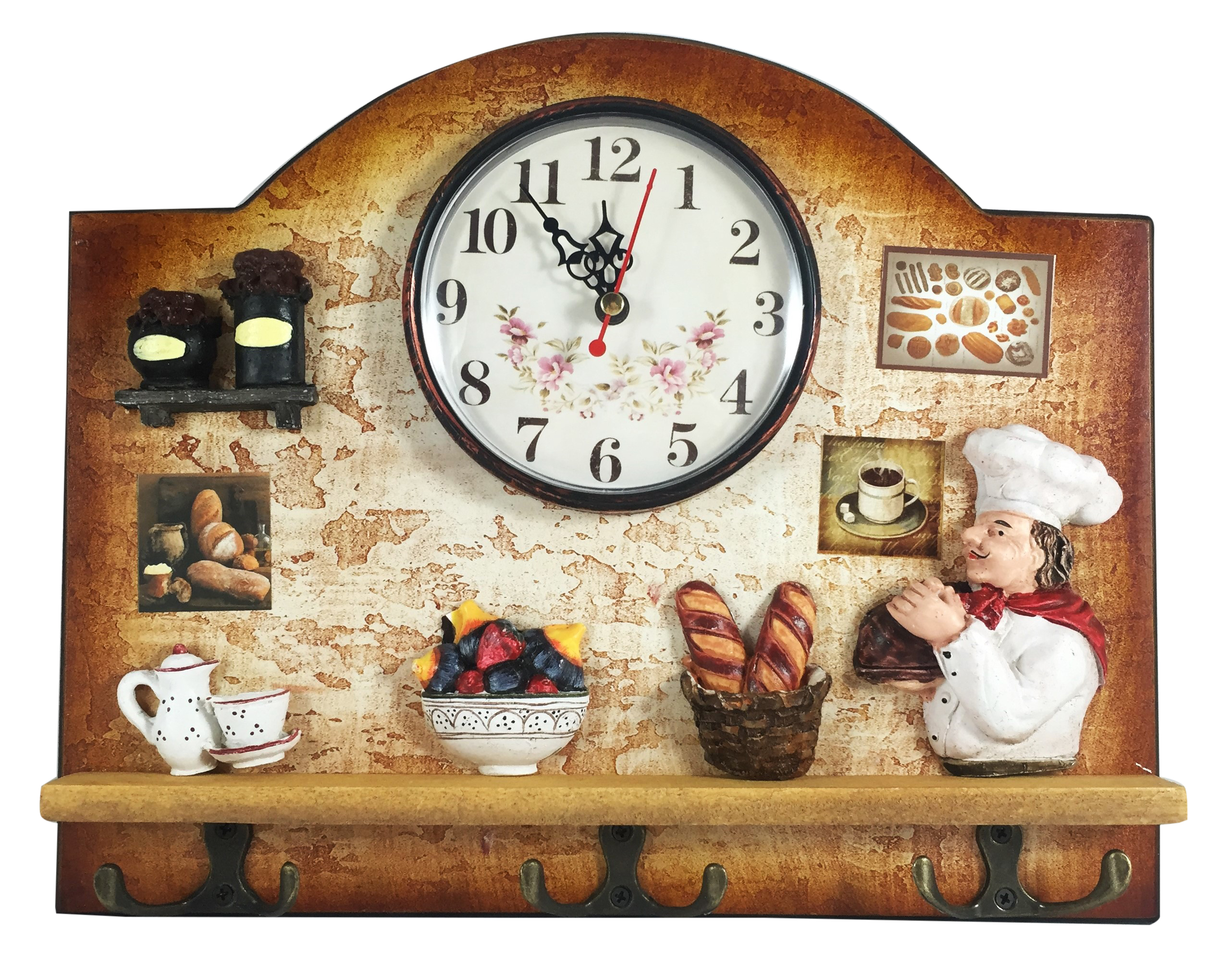 Heartful Home Italian Chef Wall Decor Clock With Key Holder Hooks   Unique  Gift Idea For