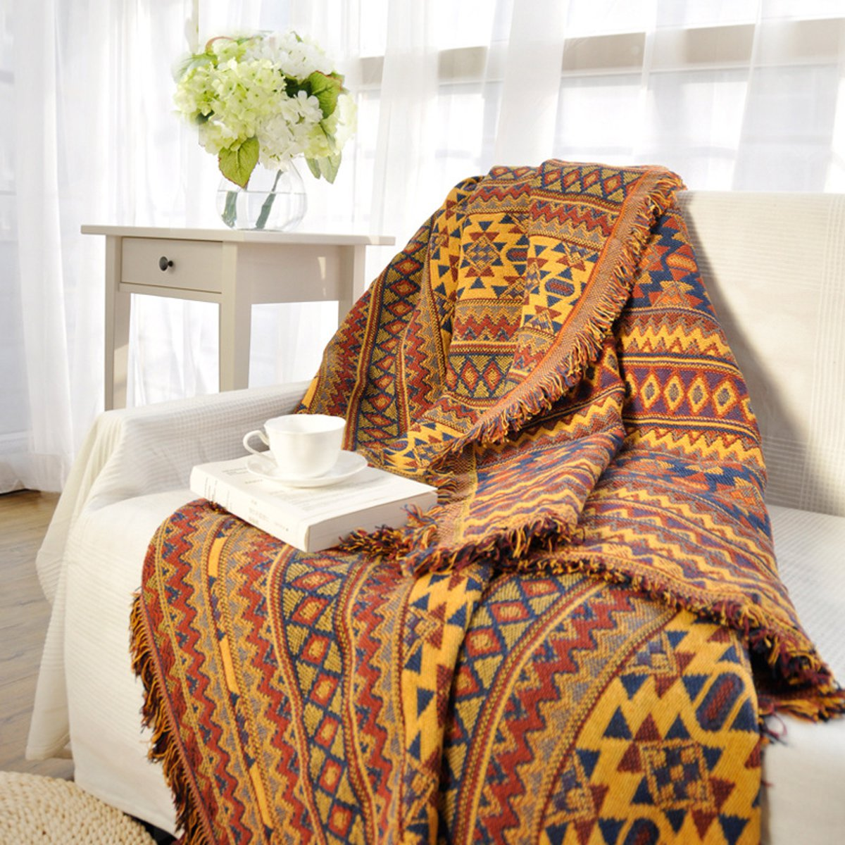 51''x71'' Soft Cotton Blanket Throw Decorated Bohemian Ethnic Fringed Sofa Blanket Armchair Cover Tatami Bedroom Home Decor