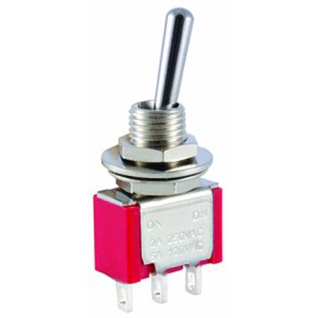 NTE Electronics 54-301E Bat Handle Mini Toggle Switch, SPDT Circuit, ON-None-(ON) Action, Chrome Plated Brass Actuator, Epoxy Sealed Solder Terminal, 5 Amp, 120VAC - 54-301E ()