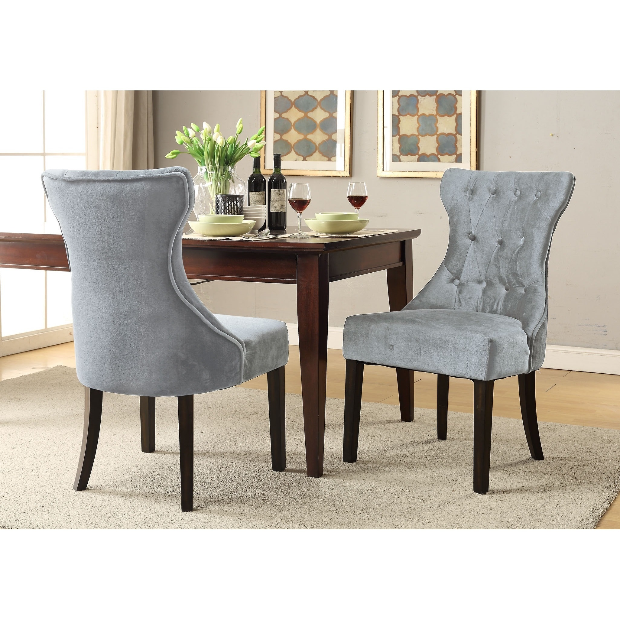 Chic home bronte velvet modern contemporary button tufted tapered rubber wood legs dining chair silver