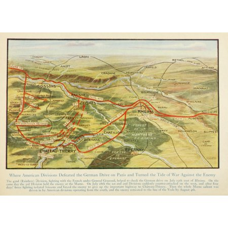Map Harpers Pictorial World War 1920 Americans Defeated German Drive Poster Print