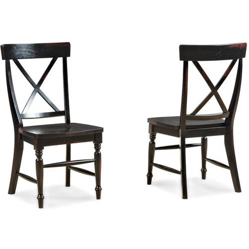 Imagio Home Roanoke X-Back Stools, Set of 2, Rubbed Black