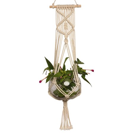 Plant Hanger, Pot Holder Macrame Planter Hanging Basket Cotton Rope Braided Craft Wall Art vintage-inspired 37 Inch](Macrame Plant Hanger Instructions)