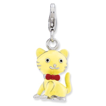Neck Tie Charm (Sterling Silver Enameled 3-d Cat With Bow Tie W Lobster Clasp Charm - 3.2 Grams )