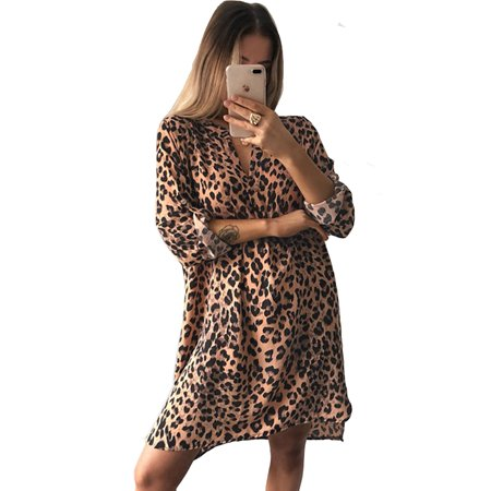 Mini Dress for Womens V Neck Short Casual Leopard Flared Long Roll-up Sleeve Evening Cocktail Party Tunic Shirts Wrap