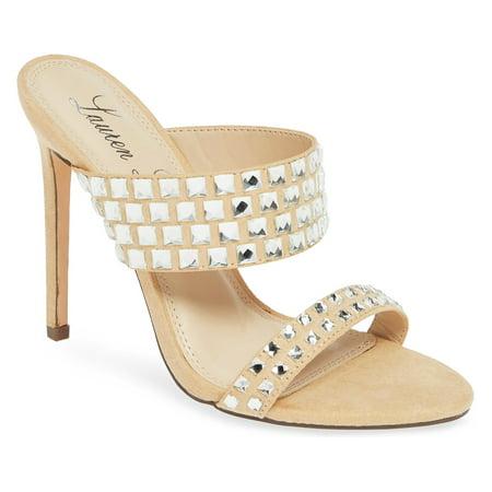 Lauren Lorraine Bing Nude Faceted Stones Two Strap Open Toe Stiletto Heels