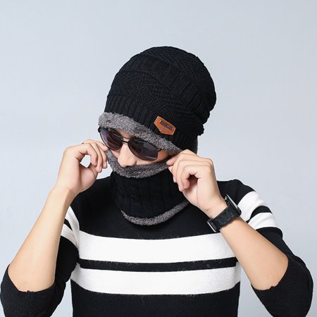 5edc5703644 Obstce (Asian Size)Warm Skiing Outdoor Sports Winter Knitting Wool Beanie  Hat and Circle Scarf - Walmart.com