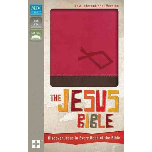 The Jesus Bible: New International Version, Italian Duo-Tone Hot Pink/Chocolate, Discover Jesus in Every Book of the Bible