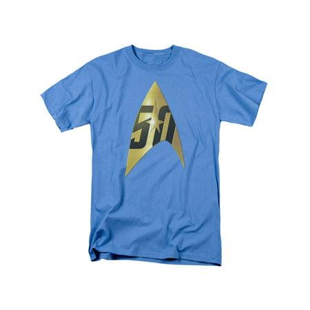 Star Trek Franchise 50th Anniversary Delta On Carolina Blue Adult T-Shirt Tee (Star Trek Blue Shirts)