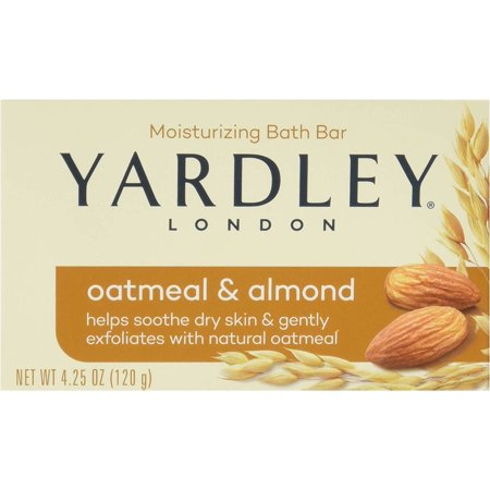Yardley London Soap Bath Bar Oatmeal & Almond 4.25 Oz 120 G Pack of 8 Almond Organic Bar Soap