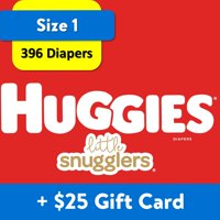 [$25 Savings] Buy 2 Huggies Diapers Little Snugglers, Size 1, 198  Ct with $25 Gift Card