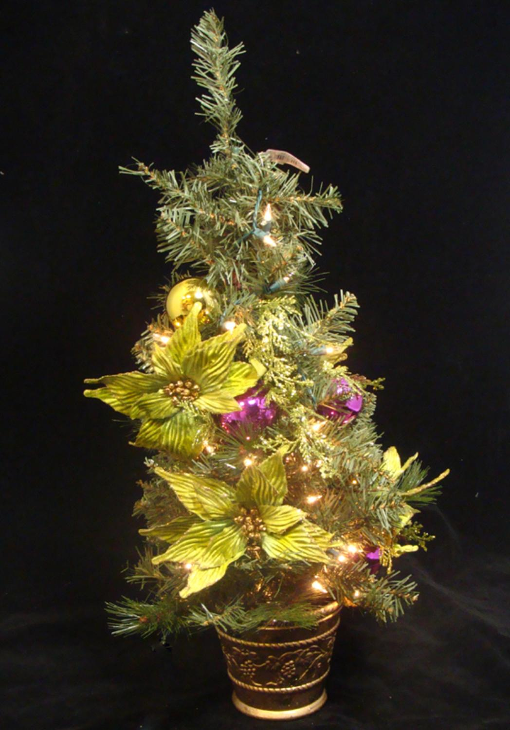 "31"" Lime Green Poinsettia Pre-Lit Decorated Christmas Tree ..."