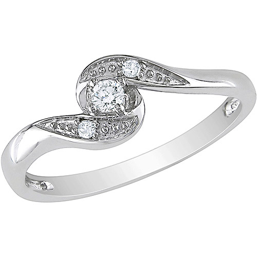 Miabella Diamond Accent 10kt White Gold Bypass Promise Ring