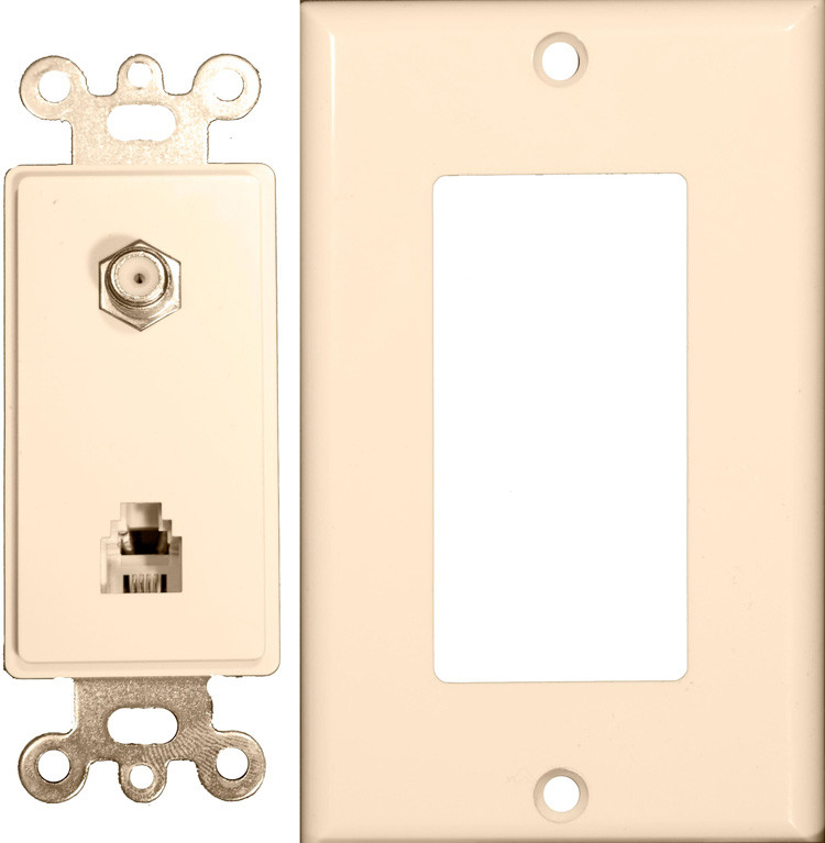 Morris Products 2 Pieces Decorator Combination Phone / CATV Jack in Lt Almond (Set of 3)