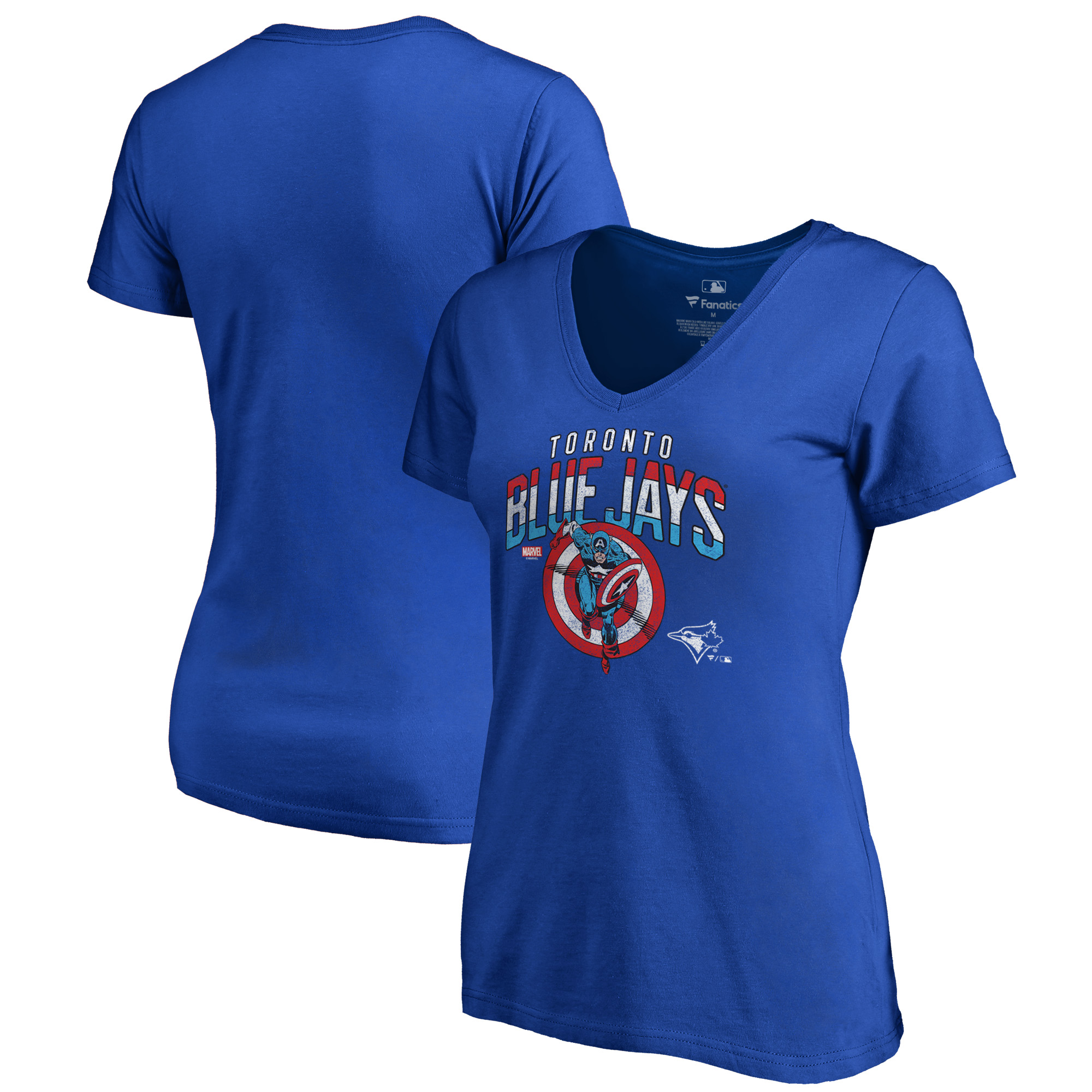 Toronto Blue Jays Fanatics Branded Women's MLB Marvel Captain's Shield V-Neck T-Shirt - Royal