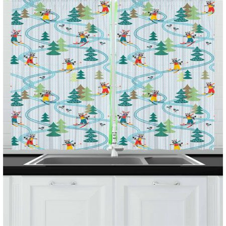 Kids Sports Curtains 2 Panels Set, Cute Funny Raccoons Skiing Winter Pine Tree Christmas Humor Noel Childish Print, Window Drapes for Living Room Bedroom, 55W X 39L Inches, Multicolor, by Ambesonne