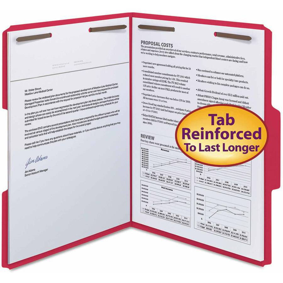 "Smead WaterShed/CutLess Folder, Top Tab, 2 Fasteners, 3/4"" Expansion, Letter, Red, 50/Box"