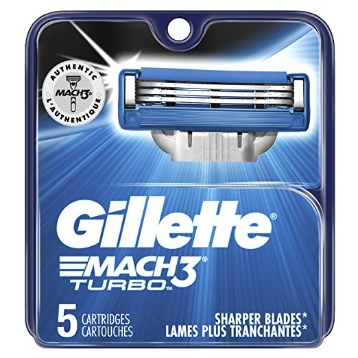 Gillete Mach3 Turbo Men's Razor Blade Refills, 5 Count, Mens Razors / Blades