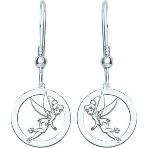 St Silver Disney Tinker Bell Pixie Dangle Earrings