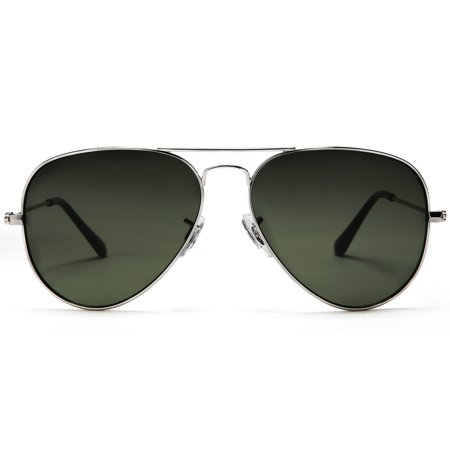 ff7558a623 SAMBA SHADES - Samba Shades Unisex Classic Aviator Sunglasses Silver Frame  Green Lens - Glen   Ivy Sky Inspired - Walmart.com