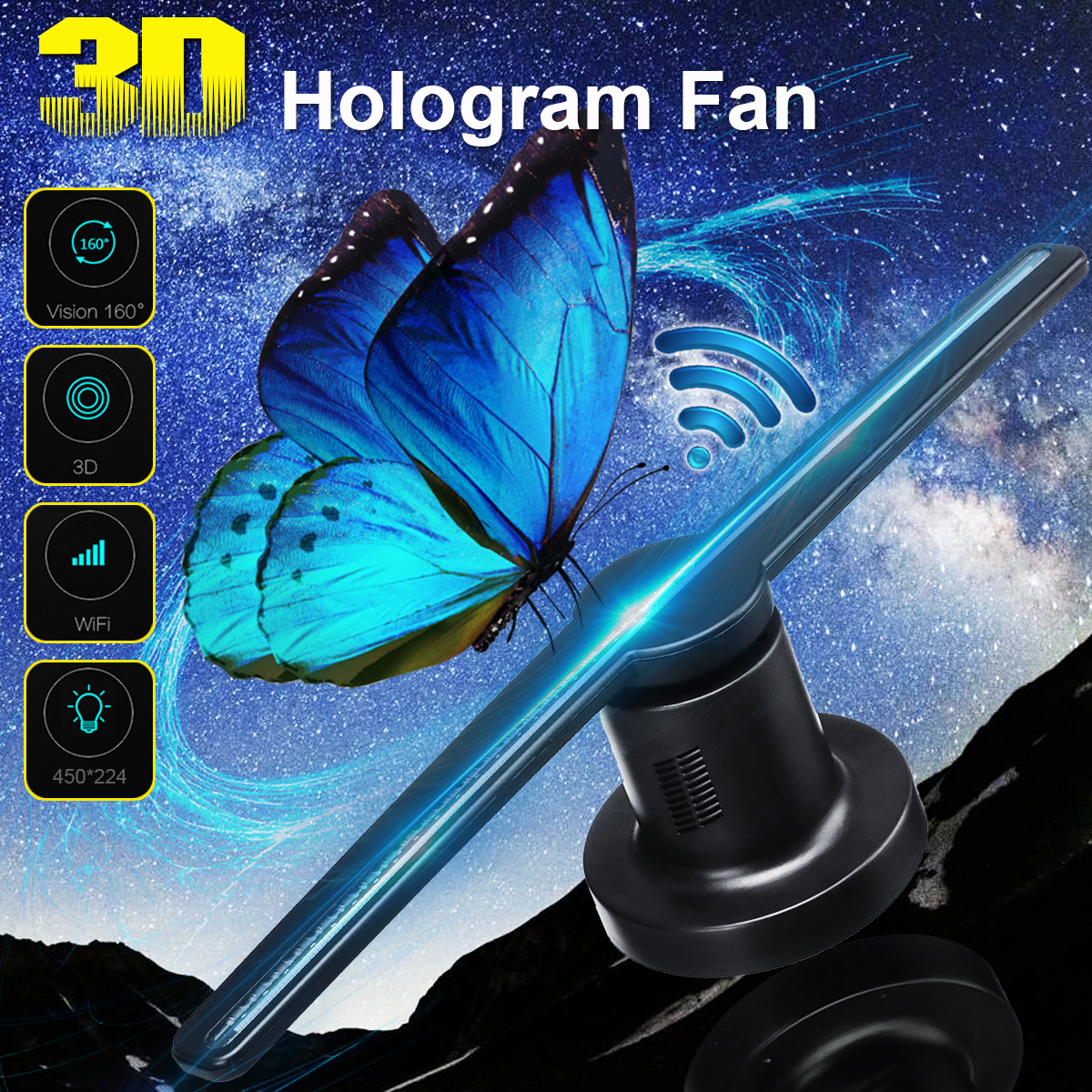 WIFI 3D Holographic Projector Display Fan LED Hologram