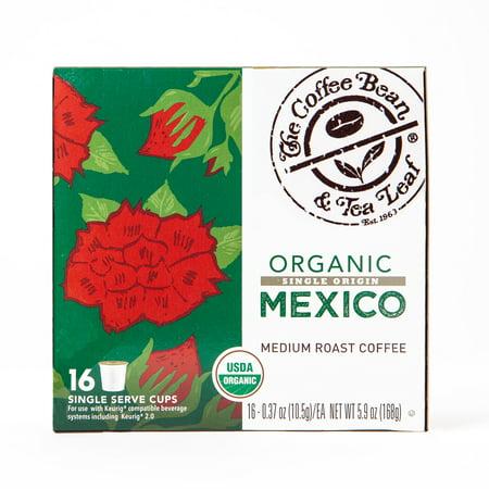 The Coffee Bean & Tea Leaf Mexico Organic Medium Roast Single Serve Coffee for Keurig Brewers, 1 Box of 16 (16 Total Pods)